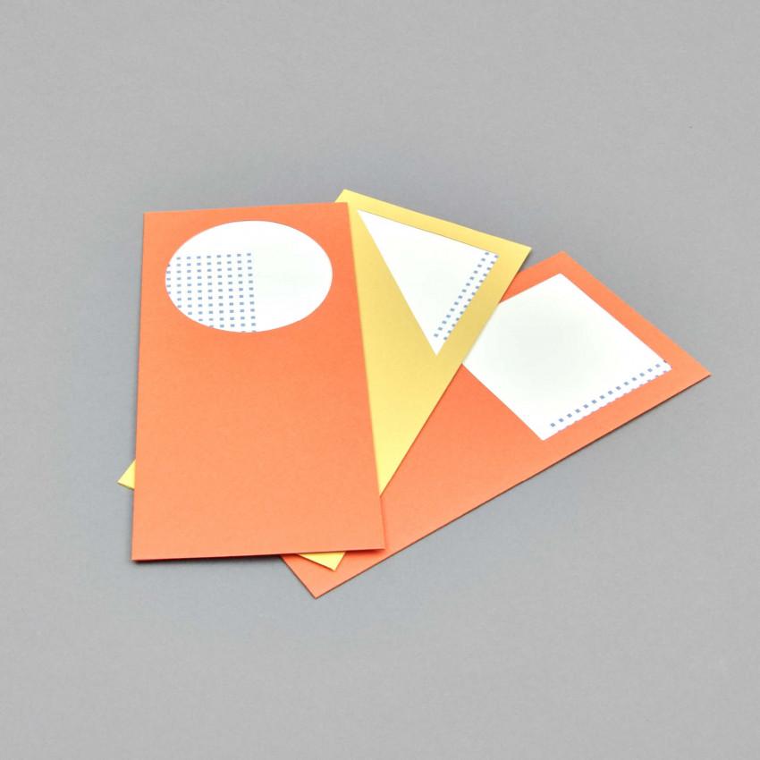 Farbige Couverst mit Fenster und Briefpapier