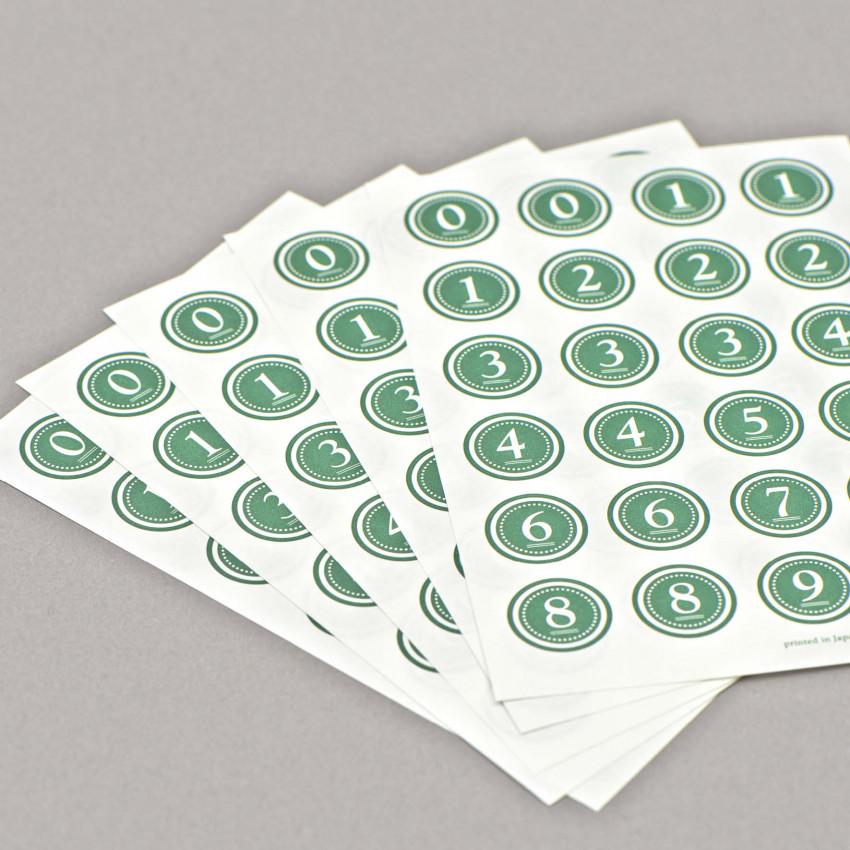 Runde Kleber von 0-9 (Grün)