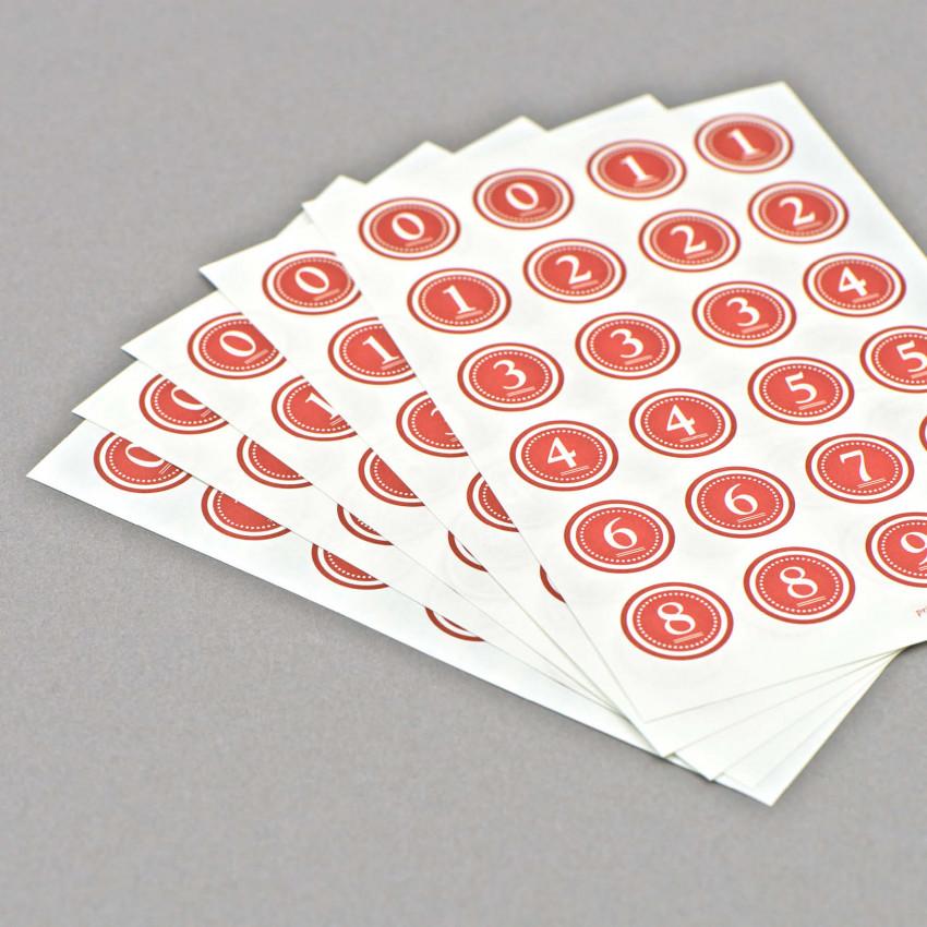 Runde Kleber von 0-9 (Rot)