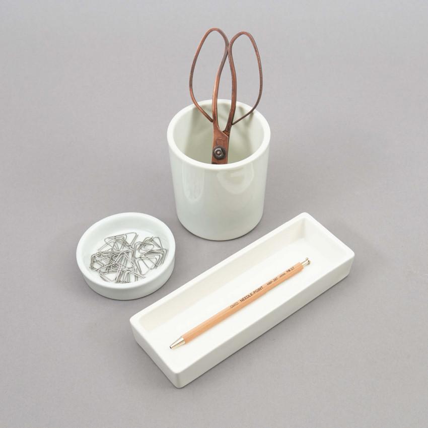 Dreiteilige Schreibtischablage aus Porzellan