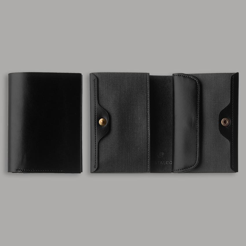 Kompaktes japanisches Portemonnaie – Schwarz