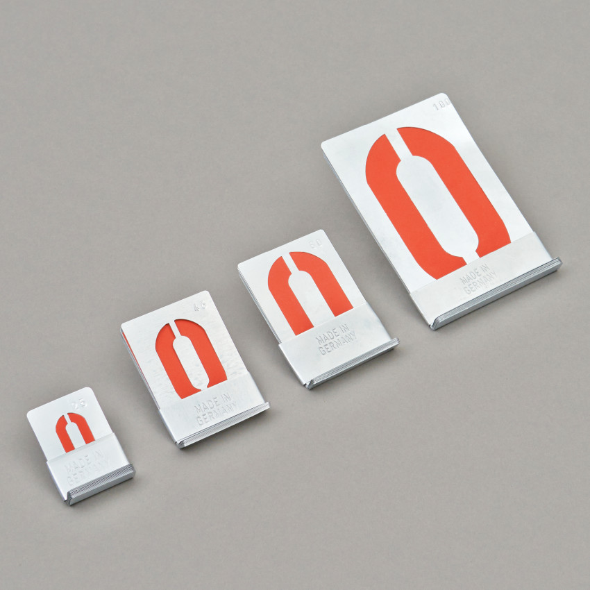0 bis 9 Schablonen, von 2.5 bis 10 cm