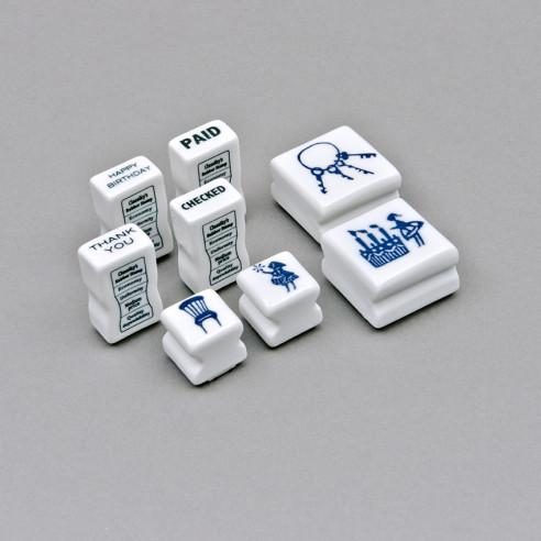 Stempel mit Porzellangriff in 4 Sujets